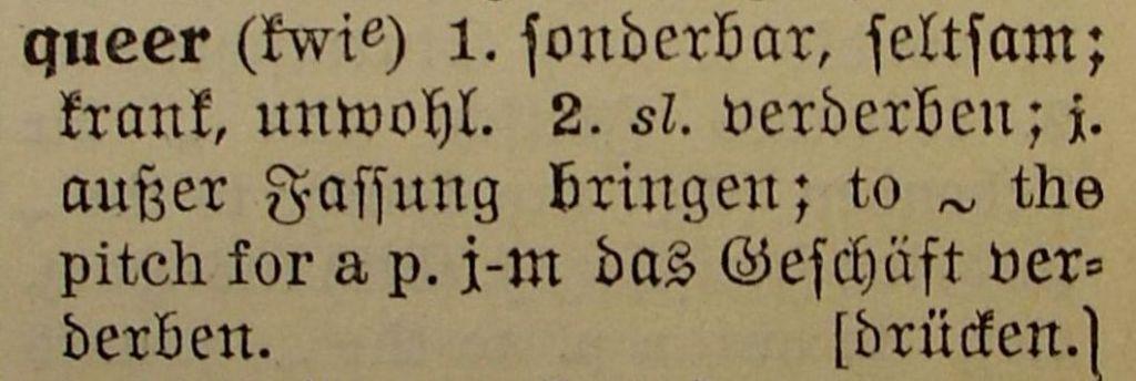 Aus Langenscheidts Taschenwörterbuch 1929, Seite 361