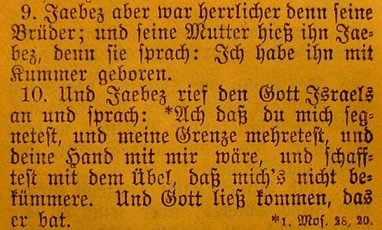 Die Bibel - 1. Chronik 4, 9-10