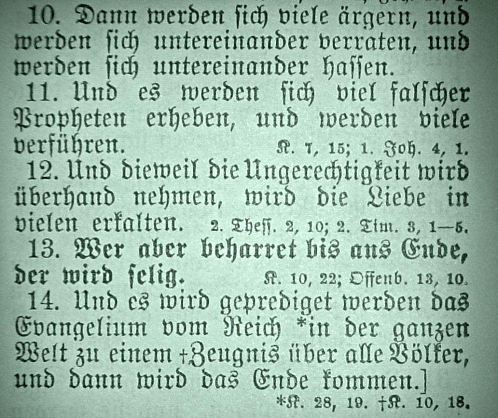 Matthäus 24, 10-14